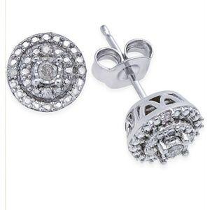 Genuine Diamond Stud Earrings (1/10 ct) Silver NEW